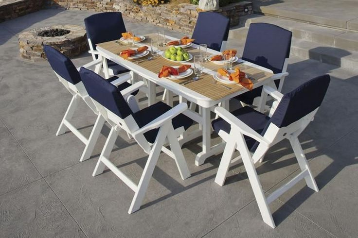 The POLYWOOD® Nautical 7-Piece Dining Set with Slipcushions - $3,049 (pop up window to make offer)