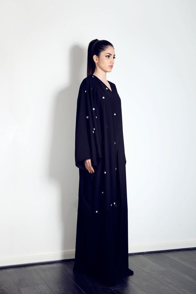 This beautiful panelled half embellished abaya is available from our website now, for just £89
