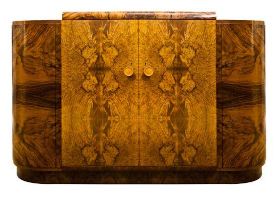 British Art Deco Burr Walnut Sideboard c.1930