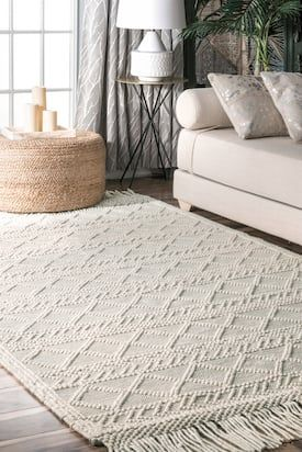 Rugs Usa Cream Sovereign Textured Achromatia With Tassels