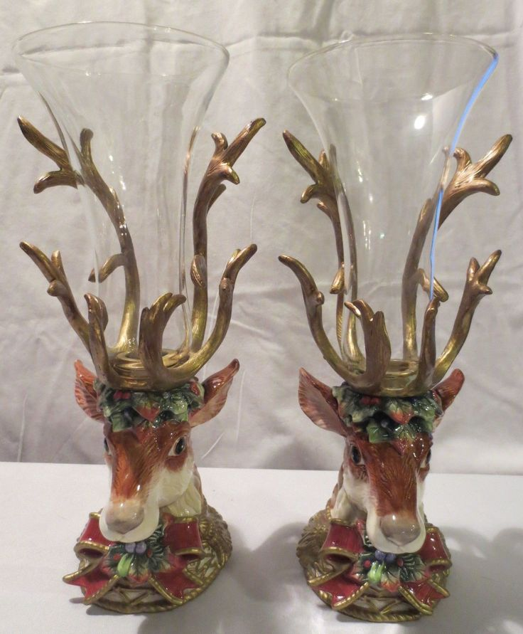 Pair Fitz Floyd Classics Christmas Deer Candle Holder Retired Chimney | eBay