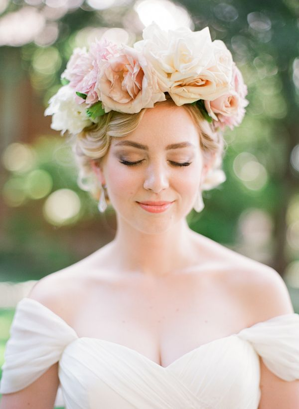 floral crown bridal style with photos from Taylor Lord Photography | via junebugweddings.com