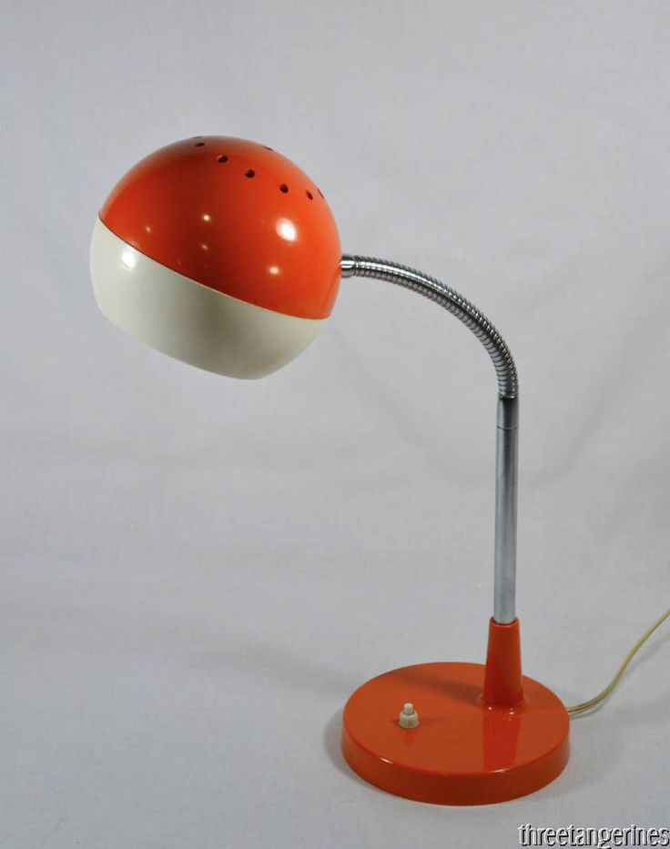 Mod Orange Eyeball Lamp Chrome Gooseneck Vintage Retro