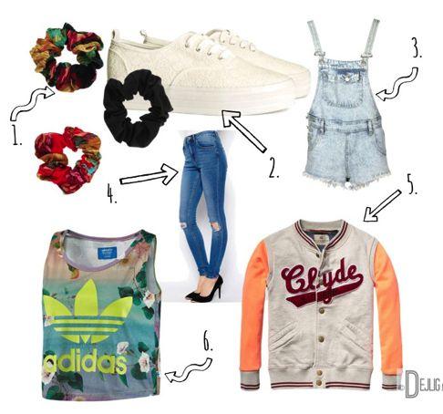 6 terugkerende trends uit de '80 & '90 - Dejlig #scrunchy #platformsneakers #tuinbroek #highwaistjeans #croppedtop #baseballjack