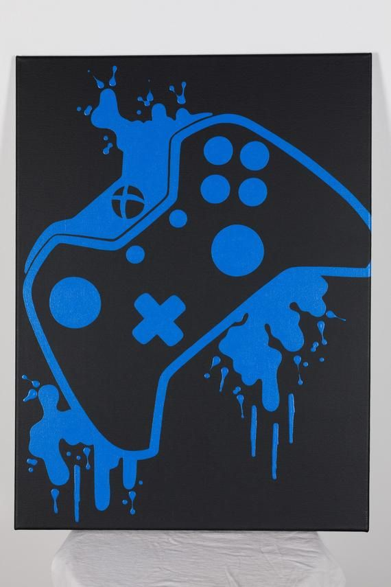 Xbox One video game controller painting, video game art, hand drawing, custom color, custom wall Ar   – Gamer room