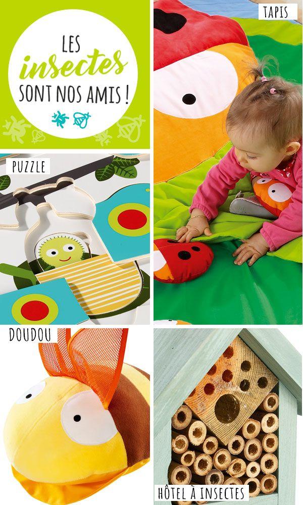 """Nouvelle tendance """"Les insectes sont nos amis"""" avec Wesco family. Puzzle, tapis, doudou, coussin douillet, hôtel à insectes, à découvrir de toute urgence."""
