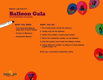Balloon Gala, math activity from BrightNRite from BrightNRite on TeachersNotebook.com (1 page)  -  Fill a balloon with pom-pom balls, estimate and write down the number, estimation can be practiced in many easy simple ways