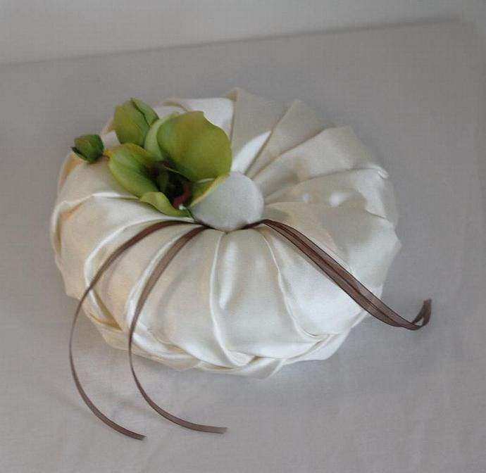 Handmade Ring Bearer Pillow Round Smocked Pleated Ivory with Green Orchid and
