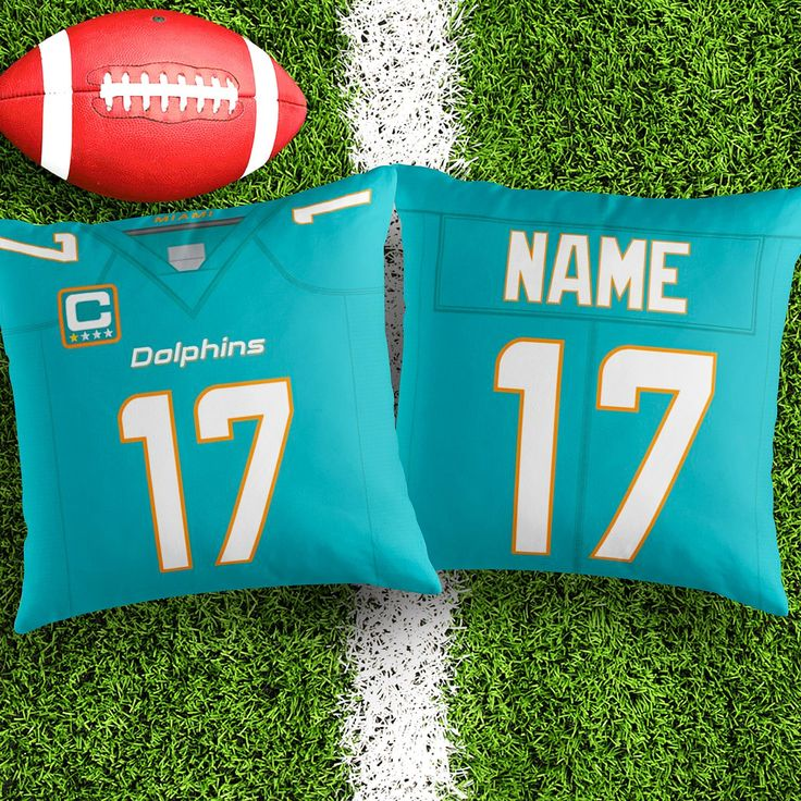 Personalised Miami Dolphins Jersey Throw Pillow Cushion Cover Fan inspired product Gift for boyfriend Creative Christmas Gift hubby gift