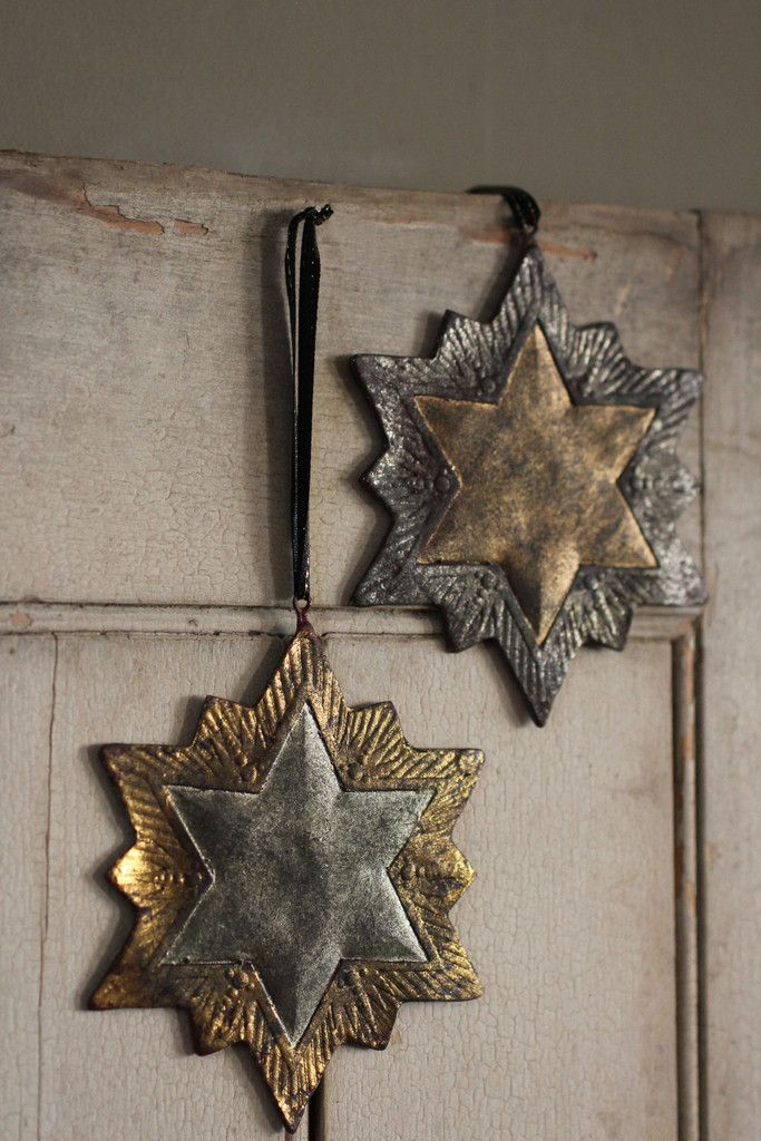 Antiqued Silver and Gold Stars