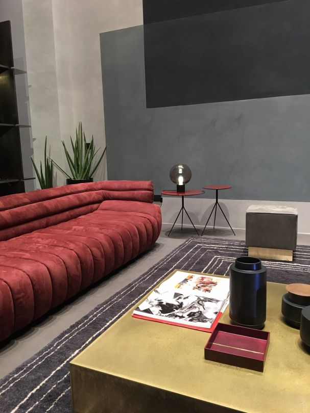 Baxter: This is all Italian made, and we visited their showroom which was stunning. I love this red sculptural 'Tactile' sofa by Vincenzo de Cotiis, available in Australia at Criteria. #fionalynch #fionalynchdesign #interiordesign #milan #salonedelmobile