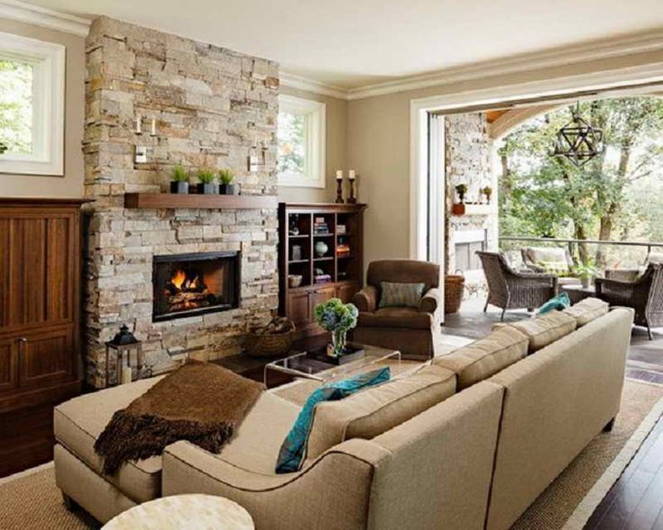 Living Room Rooms With Fireplaces Furniture Decorations Beauteous Stacked Stone Fireplace Design Bright Color And Simple Brown Wooden