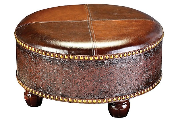 Furniture finds faux leather ottoman brown camel marley for Brown leather couch with studs