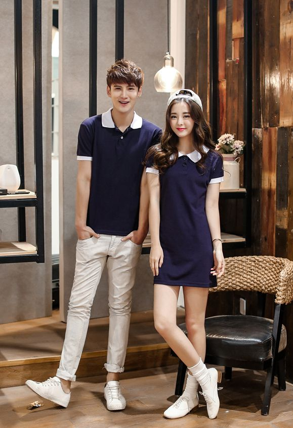 Wholesale College Style All Match Dark Blue Short Sleeve Slim Wear Couple Clothes