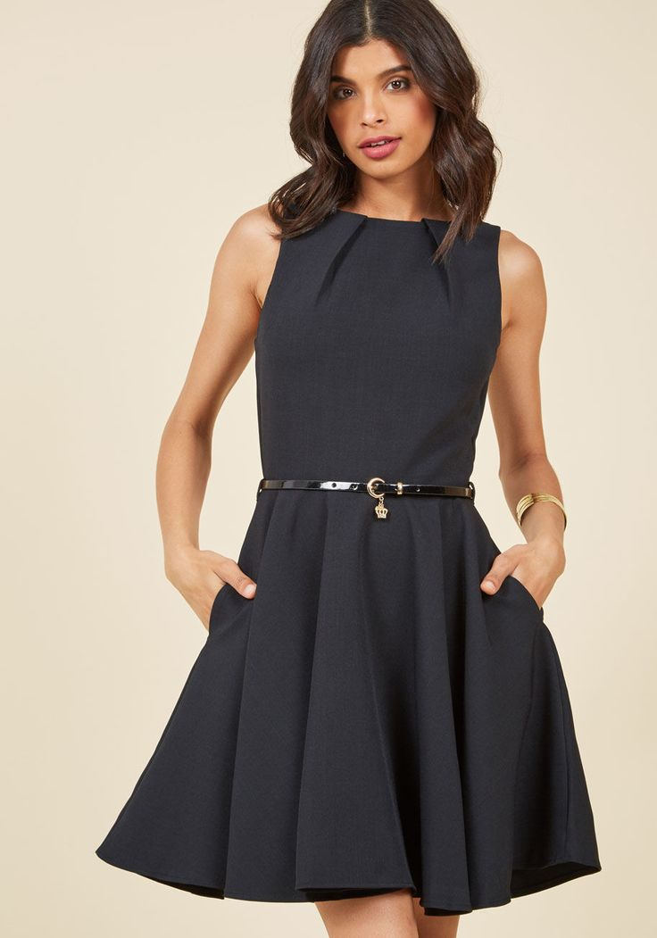 <p>If you've been searching for a charming new frock, then you're in luck! The A-line silhouette and pleated details of this gorgeous LBD flaunt effortless femininity, as the golden buckle of its black patent belt adds extra sophistication. Wearing this pocketed piece by Closet London is always a fashionable chance worth taking!</p>