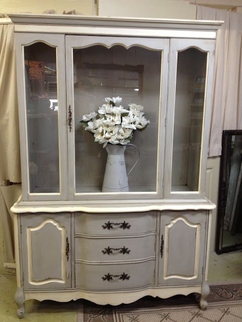 Repainting French Provincial Furniture | ASCP Paris Gray and Old White. Beautiful French Provincial hutch!