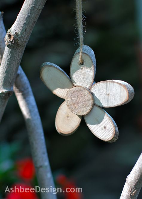 AshbeeDesign.com DIY Tutorial on making wood slice flowers, could be Christmas ornaments too