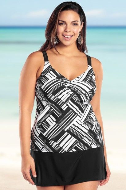 A modern black and white geometric print may make this plus size swimsuit your new favorite.