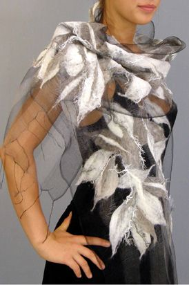 Silver Mist Nuno Scarf - Handwoven silk organza with nuno felted merino wool, accented with silk threads. Izabela Sauer