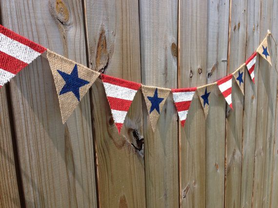 Patriotic USA American Flag Rustic Burlap Banner. Home Decor, 4th of July…