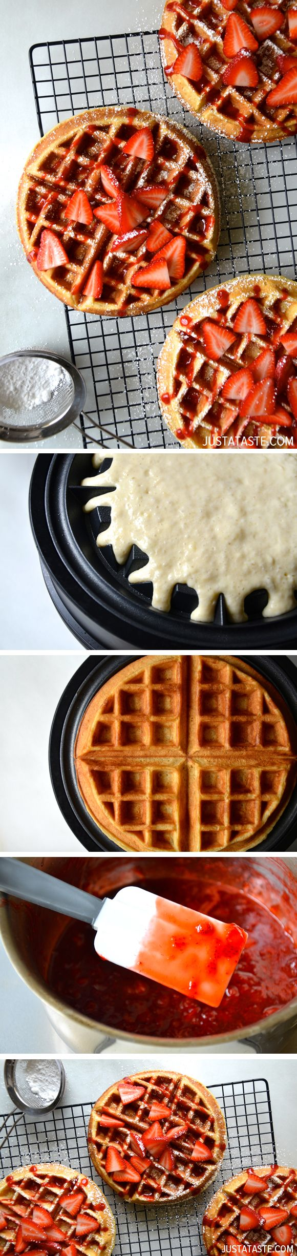 Buttermilk Waffles with Fresh Strawberry Syrup #recipe @justataste