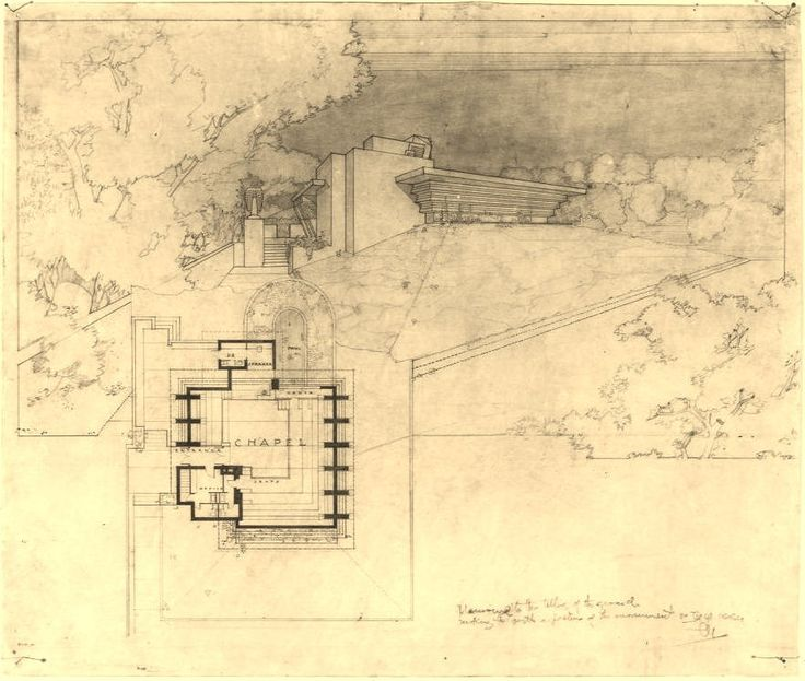 2167 best architecture images on pinterest arquitetura frank lloyd wrights cooksville chapel drawing malvernweather Images