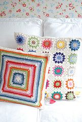 my wallpaper!!!  granny squares and crocheted pillow covers