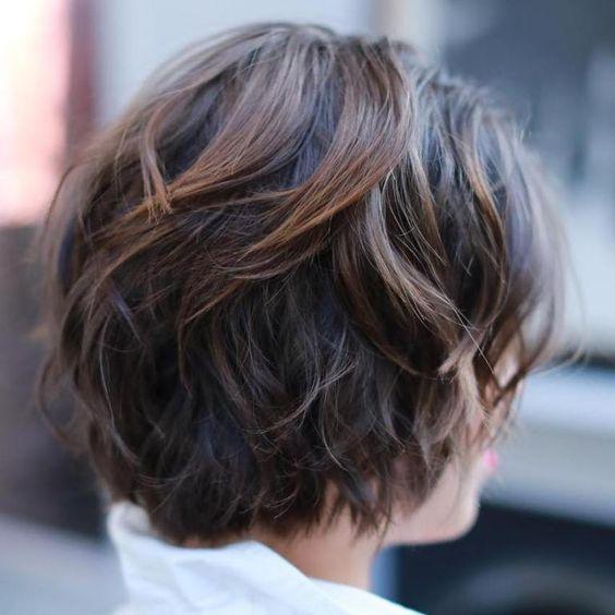 Brunette Wavy Short Hair