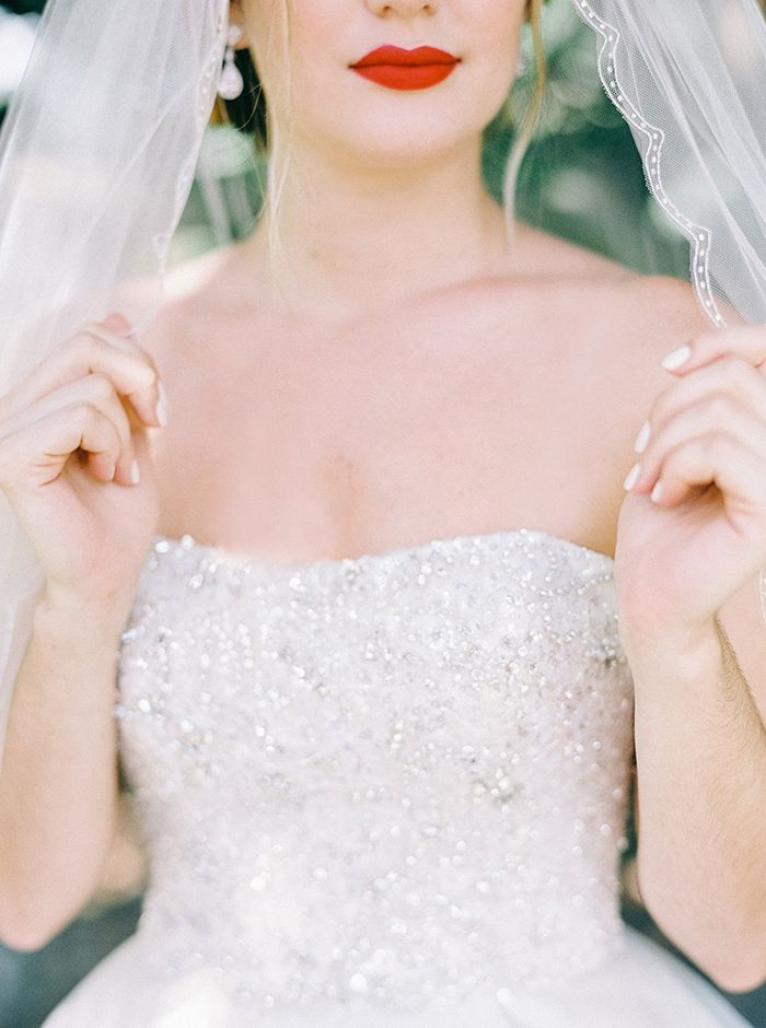 Beaded Wedding Dress with a Vintage Glam Red Lip
