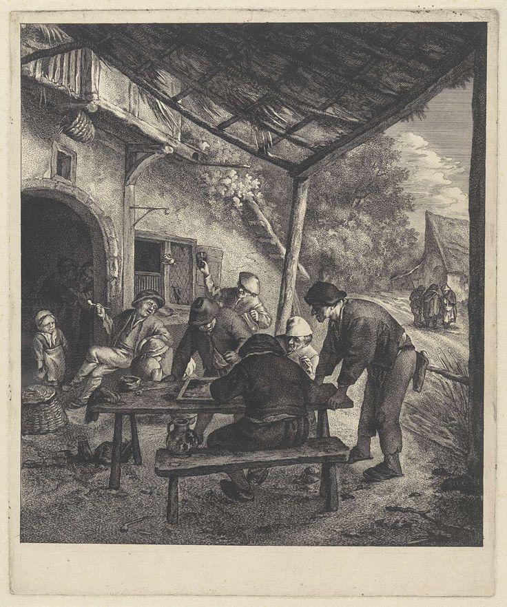 Jan de Visscher | Triktrakspelers, Jan de Visscher, Adriaen van Ostade, 1643 - 1692 | In een dorp voor een herberg onder een afdak zitten vier mannen, onder het genot van een pijpje of een drankje, triktrak te spelen. Op de achtergrond vermaken anderen zich met praten, roken en drinken.