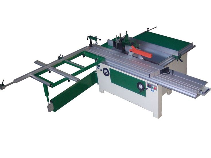 Combination Saw Bench Part - 16: Professional Table Saw With Spindle Moulder And Sliding Table On A Beam  Close To The Blade