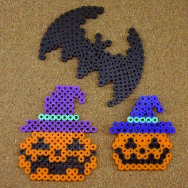 Halloween perler beads by tentenyama ....I really like the bat! Maybe make a bat-mobile? (lol)