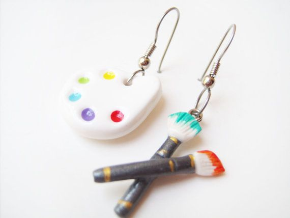 MISMATCHED EARRINGS - Painter's Palette and Paintbrush - 100% Hand-crafted in polymer clay - Beautifully Packaged