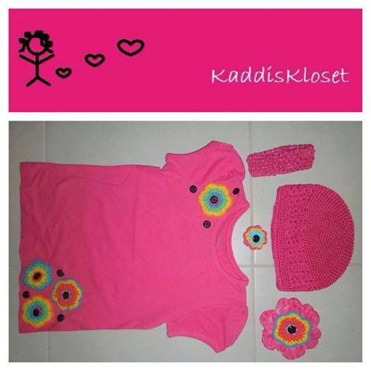 Hand embellished with hand made flowers by Kaddis Kloset Girls Size 5 Fluro Flowers outfit.