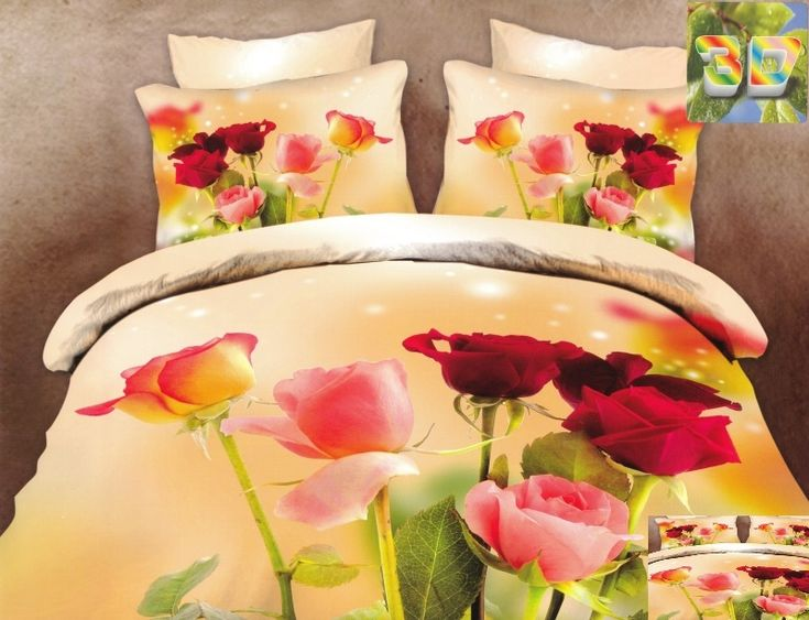 Oranžové bavlněné ložní povlečení s růžemi