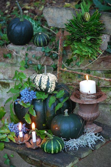 Kürbisse und Kerzen im Garten