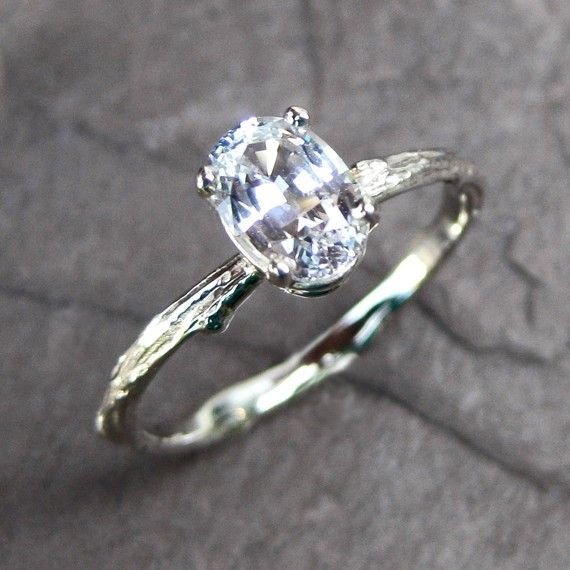 White Sapphire Branch Engagement Ring White Rose or Yellow Gold Oval 1ct