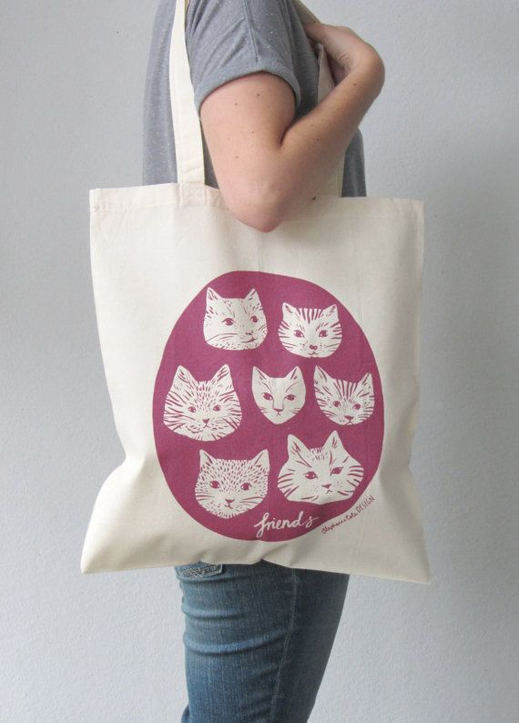 Cat friends tote bag by stephaniecoleDESIGN on Etsy