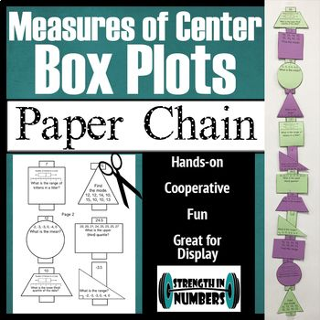 Students work together to practice measures of center and box plots and make a paper chain.  This activity is self checking and great for decorating your classroom.  Would be great for Open House!