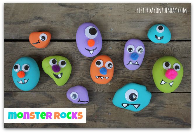 Monster Rocks I'm going to make a ton of these and give them out with the candy, I bet the children will love them! #halloweencrafts #rockcrafts #yesterdayontuesday