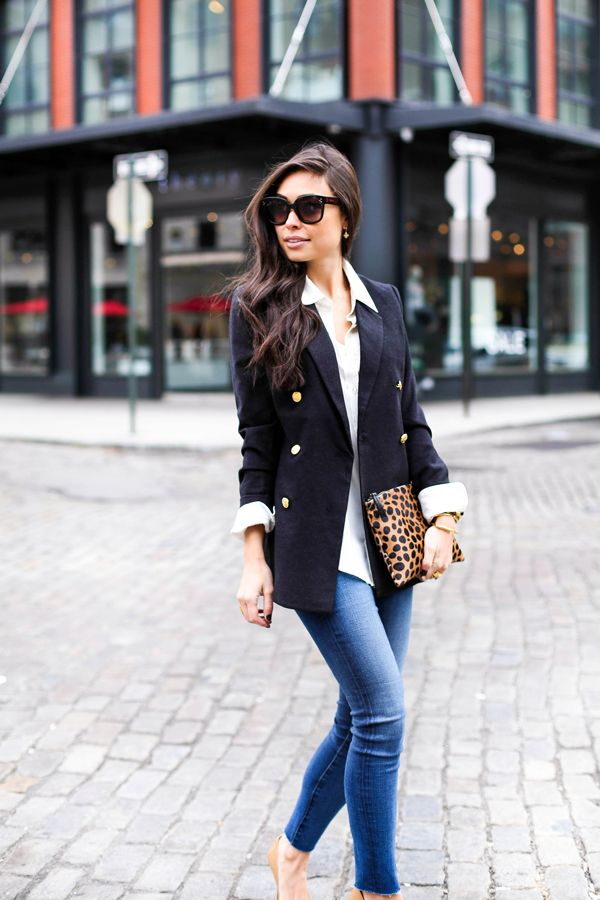 Blazer with gold buttons and leopard clutch