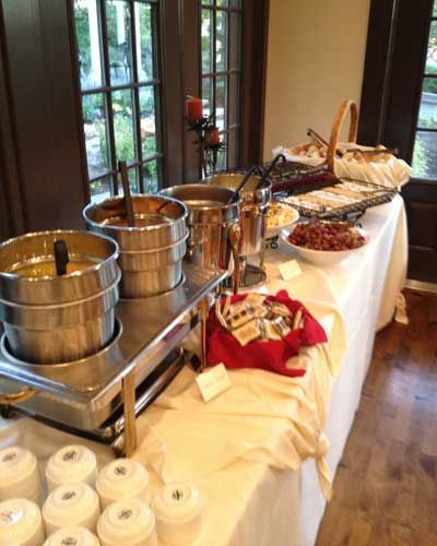Late fall and winter this is our best performing buffet - soups! Four Steaming Hot Soups: Cheese Broccoli, Southwestern Chicken Tortilla, Broadway Tomato Basil Bisque and Country Chicken Noodle served with two varieties of Homemade Bread-sticks, Cheeses, Grapes, a couple of Pastries and sparkling House Punch