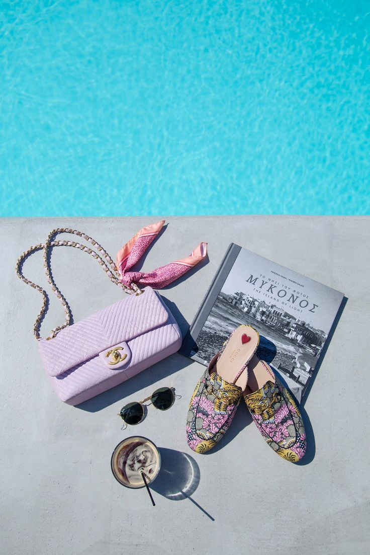 Chanel pink chevron leather bag, Gucci Princetown Bengal Slippers and Ray-Ban Round Sunglasses