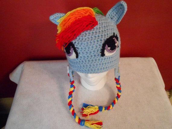 My Little Pony Rainbow Dash Inspired Crocheted Earflap Hat by www.etsy.com/shop/TheCranberryCreek