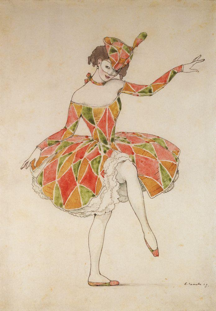 Konstantin Andreyevich Somov (1869-1939) - Design of costume of Columbine for Anna Pavlova in Harlequinade