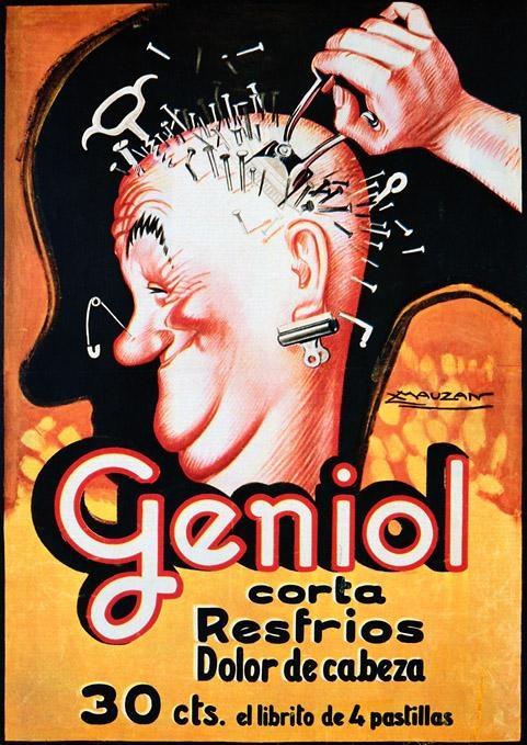 Geniol corta resfríos. Dolor de cabeza | Retro advertising | Vintage poster