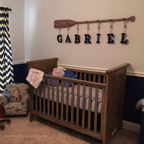 "58"" 7-Peg Driftwood Stained Rack with Eight 6x5"" Painted Name Letters with Nautical Rope / Nautical Nursery Decor / Canoe Oar by seaweeddesigns. Explore more products on http://seaweeddesigns.etsy.com"