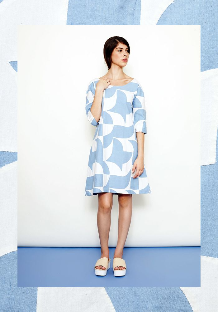 Image of Braid Dress- Baby Blue with White Hand-Appliqué