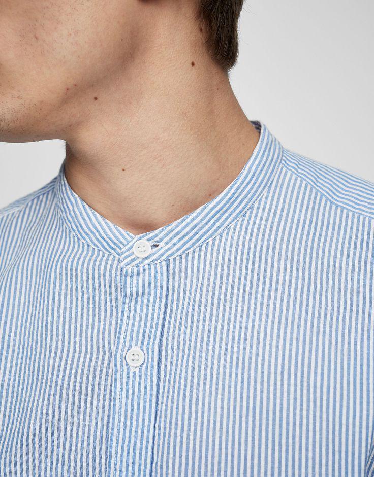 Camisa cuello mao a rayas - PULL&BEAR