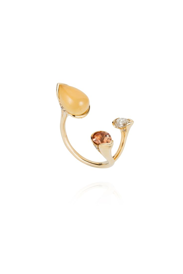 18k rose gold, diamonds (0.34 ct), imperial topaz, and calcite